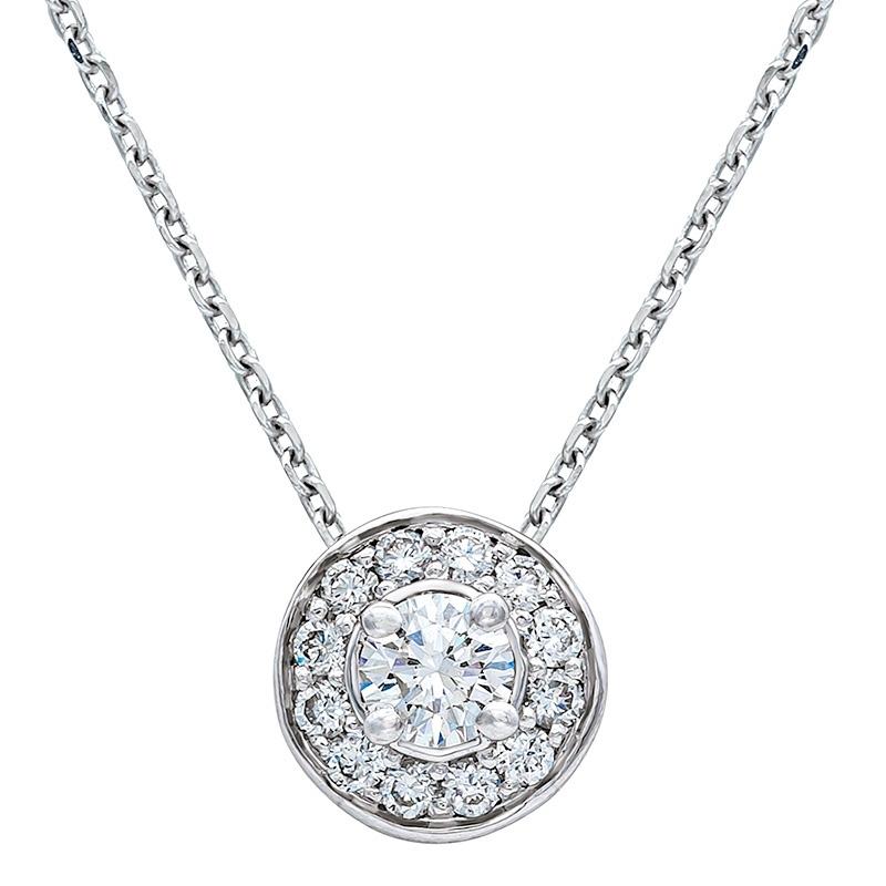 Colgante con cadena orla oro blanco 1ª ley y diamantes. - REF. N-5293/2CA - Movil