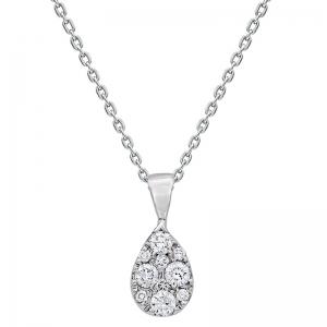 Colgante lágrima con cadena oro blanco 1ª ley y diamantes. - REF. 4874C/001 1