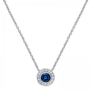 Colgante con cadena orla oro blanco 1ª ley , zafiro y diamantes. - REF. N-CH5293/4CA