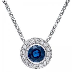 Colgante con cadena orla oro blanco 1ª ley , zafiro y diamantes. - REF. N-CH5293/4CA 1