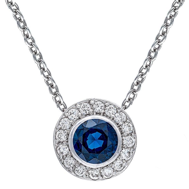 Colgante con cadena orla oro blanco 1ª ley , zafiro y diamantes. - REF. N-CH5293/4CA - Movil