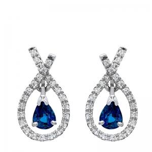 Pendientes lazada oro blanco 1ª ley , zafiros y diamantes. - REF. N-5304P