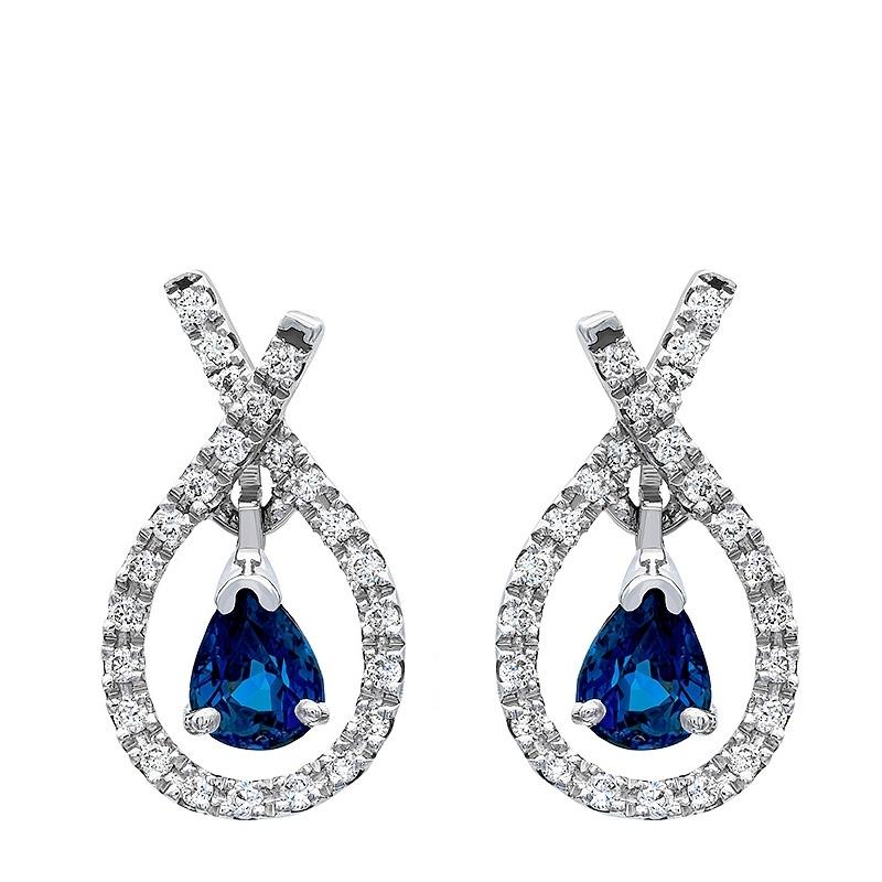 Pendientes lazada oro blanco 1ª ley , zafiros y diamantes. - REF. N-5304P - Movil