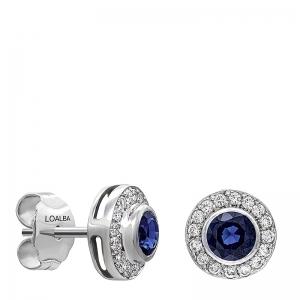 Pendientes orla oro blanco 1ª ley , zafiros y diamantes. - REF. N-CH5293/4P