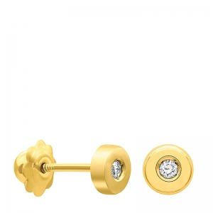 Pendientes chatón plano mini oro 1ª ley y diamantes. - REF. N-T7025AP