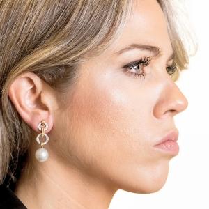 Pendientes oro blanco/rosa 1ª ley, diamantes y perlas australianas. - REF. N-5235-3P 1