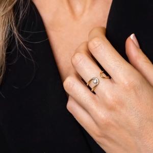 Anillo oro amarillo/blanco 1ª ley y diamante. - REF. N-Nº645AS 1