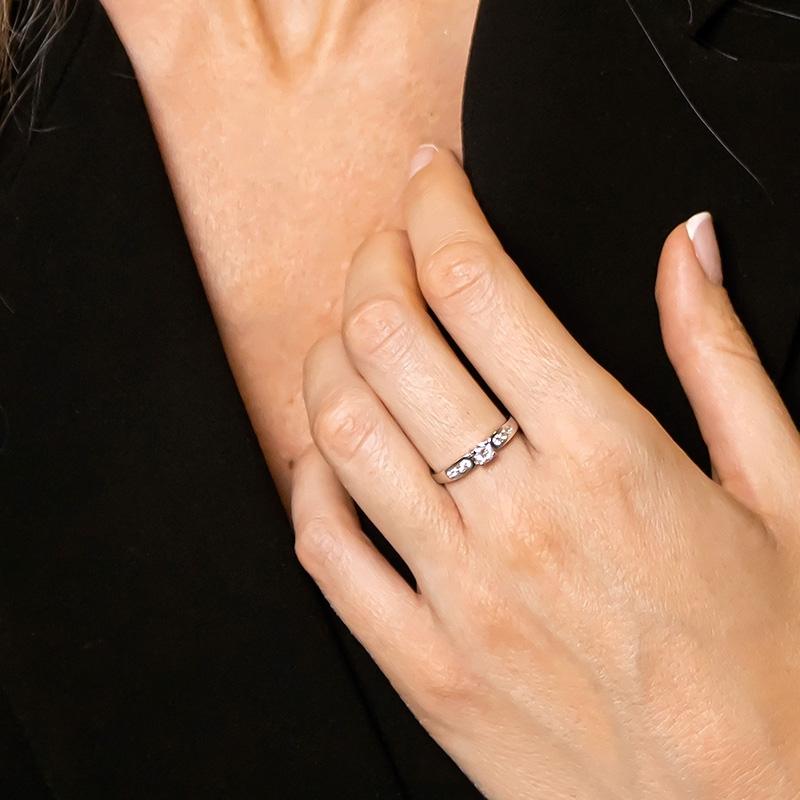 Anillo compromiso oro blanco 1ª ley y diamantes. - REF. N-7250S - Movil