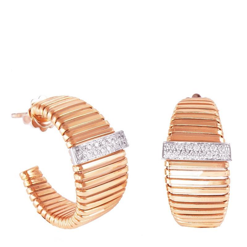 Pendientes aros tubogas en oro rosa de 1ª ley y 30 diamantes. - REF. 461600 - Movil