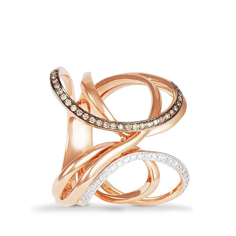 Sortija aros en oro rosa de 1ª ley y 54 diamantes. - REF. 435024 - Movil