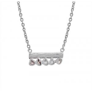 Gargantilla Sparkles de plata rodiada y diamantes. - REF. CL-129-0002D