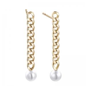 Pendientes Meraki de plata chapada en oro con perlas. - REF. 00508953