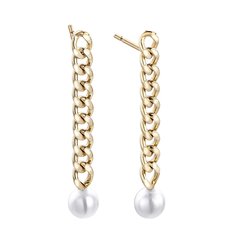 Pendientes Meraki de plata chapada en oro con perlas. - REF. 00508953 - Movil