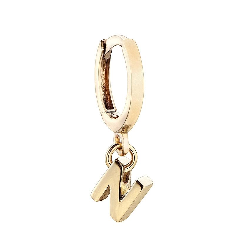 Pendiente Alphabet Only One N de plata dorada. - REF. 00508897 - Movil