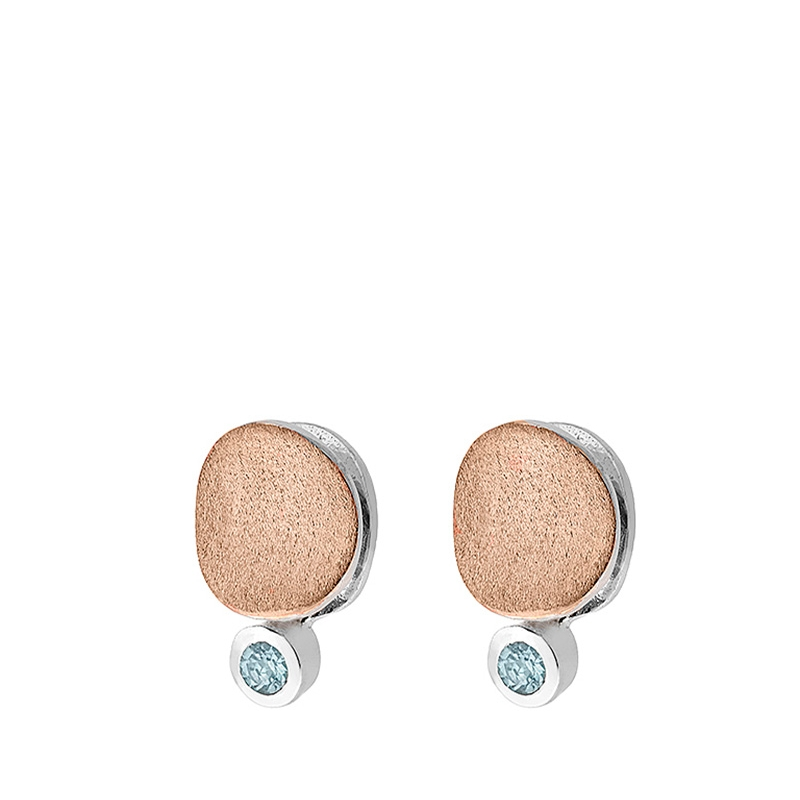 Pendientes Moon de plata rodiada chapada en oro rosa y con topacios azules. - REF. PE-104-1540R - Movil