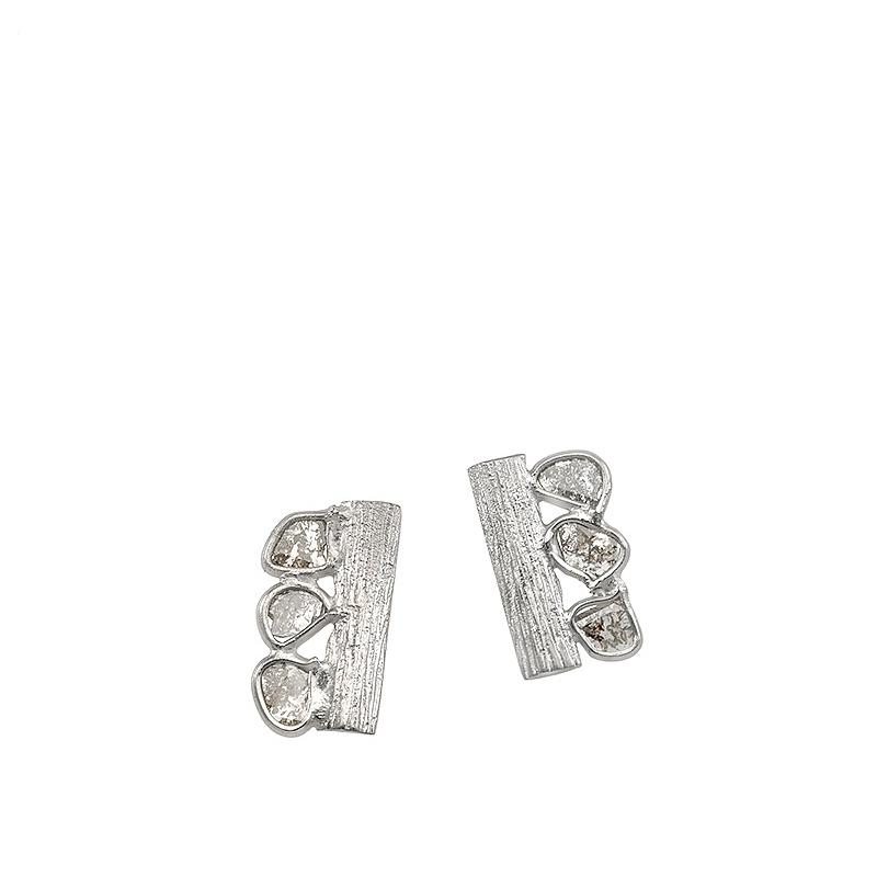 Sparkles de plata rodiada y diamantes. - REF. PE-129-0002D - Movil