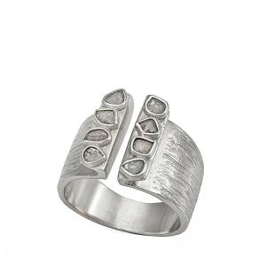 Anillo Sparkles de plata rodiada y diamantes. - REF. O129-2310D14
