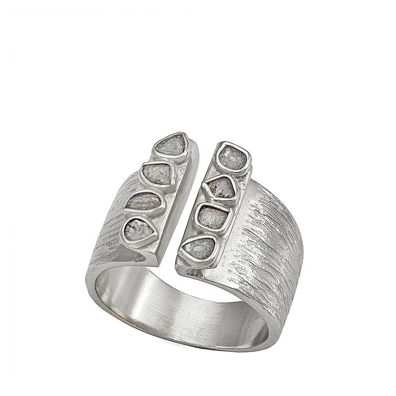 Anillo Sparkles de plata rodiada y diamantes. - REF. O129-2310D14 - Movil