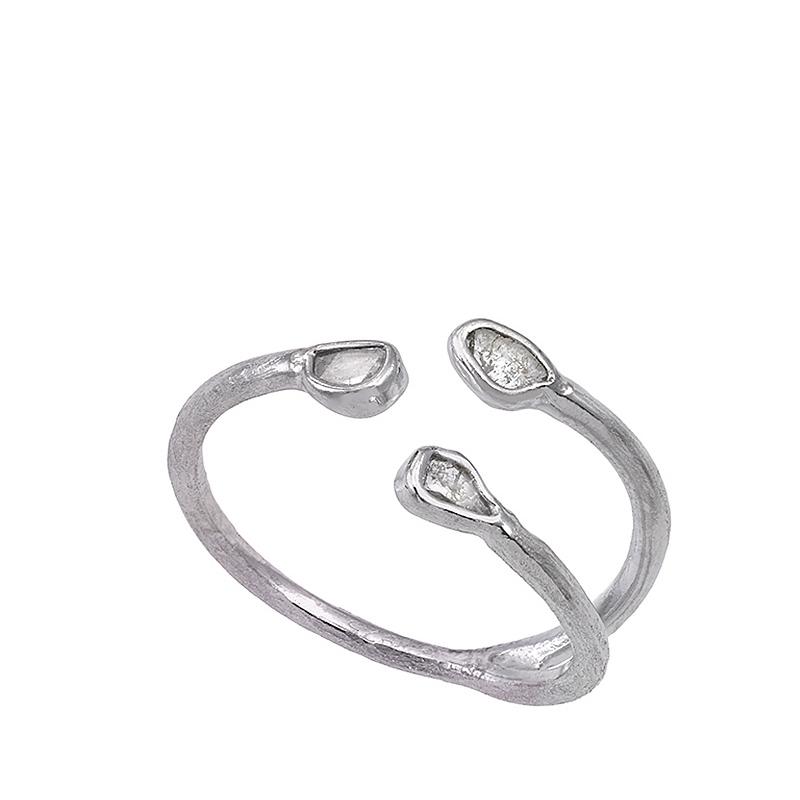 Anillo Sparkles de plata rodiada y diamantes. - REF. O129-2466D14 - Movil