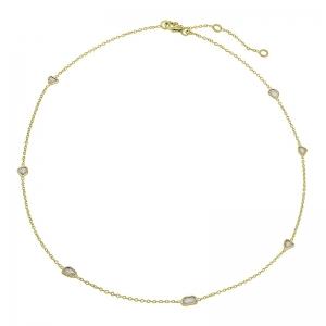 Gargantilla Sparkles de plata chapada en oro amarillo y con diamantes. - REF. CL-129-834DO