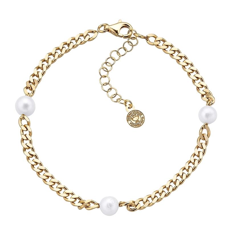 Pulsera Meraki de plata chapada en oro con perlas. - REF. 00508952 - Movil