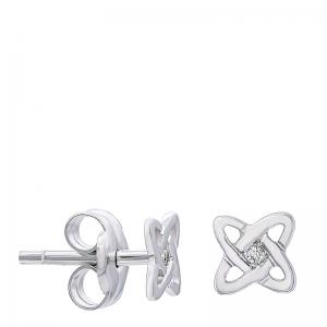Pendientes átomo mini oro 1ª ley y diamantes. - REF. N-317MBP