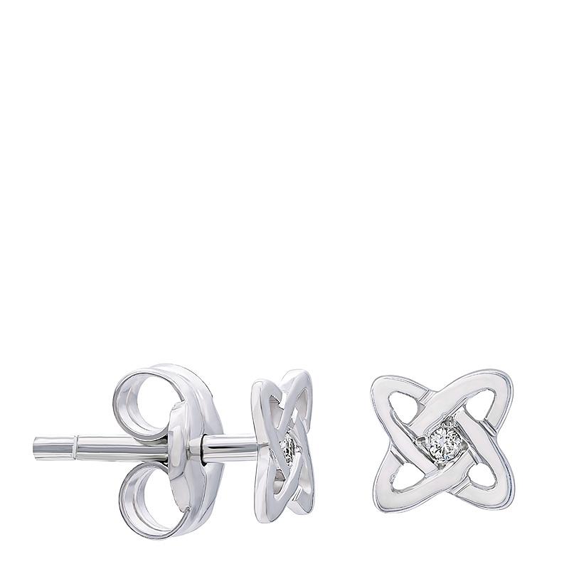 Pendientes átomo mini oro 1ª ley y diamantes. - REF. N-317MBP - Movil