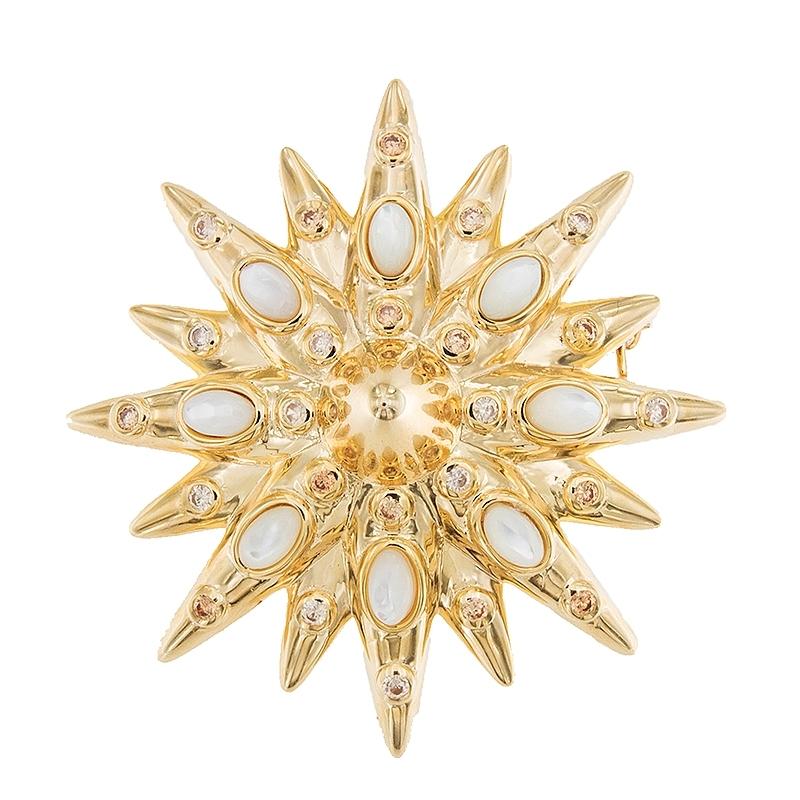 Broche Estrella con madre perla y plata dorada. - REF. SR034AMB - Movil