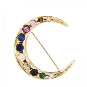 Broche Luna con piedras de colores y plata dorada. - REF. SR033AM