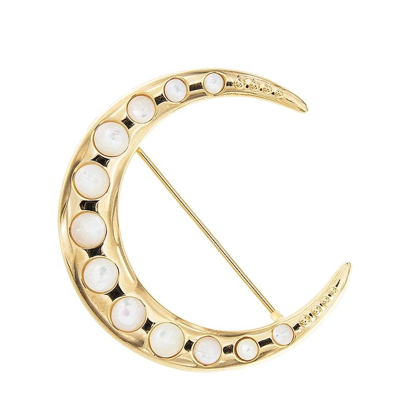 Broche Luna con madre perla y plata dorada. - REF. SR033AMB - Movil