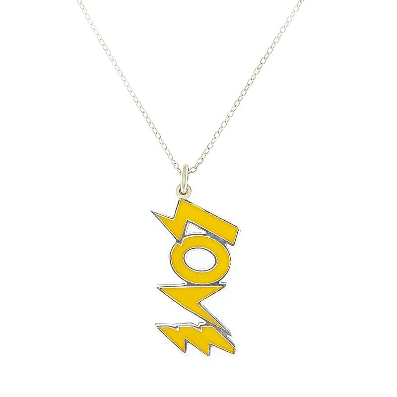 Colgante Love amarillo con cadena. - REF. N-8004BC002 - Movil