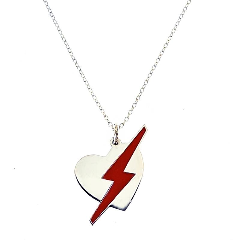 Colgante Corazón con Rayo rojo con cadena. - REF. N-8004CC001 - Movil