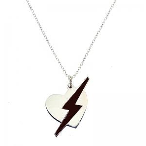 Colgante Corazón con Rayo negro con cadena. - REF. N-8004CC003