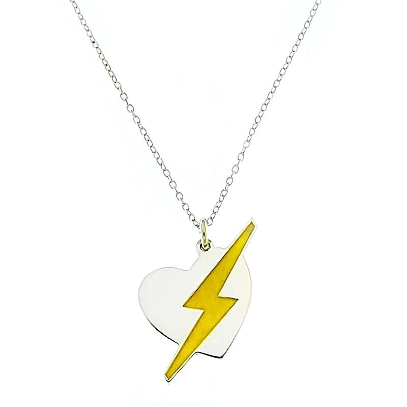 Colgante Corazón con Rayo amarillo con cadena. - REF. N-8004CC002 - Movil