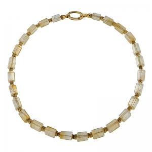 Collar citrinos y hemaites con cierre de plata dorado. - REF. N-101260H