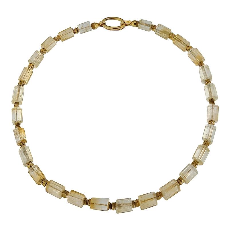 Collar citrinos y hematites con cierre de plata dorado. - REF. N-101260H - Movil