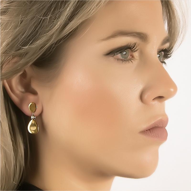 Pendientes oro bicolor 1ª ley y diamantes. - REF. N-CH3257P - Movil