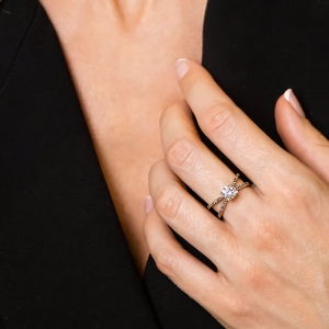 Anillo oro rosa 1ª ley y diamantes. - REF. N-7345RS 1