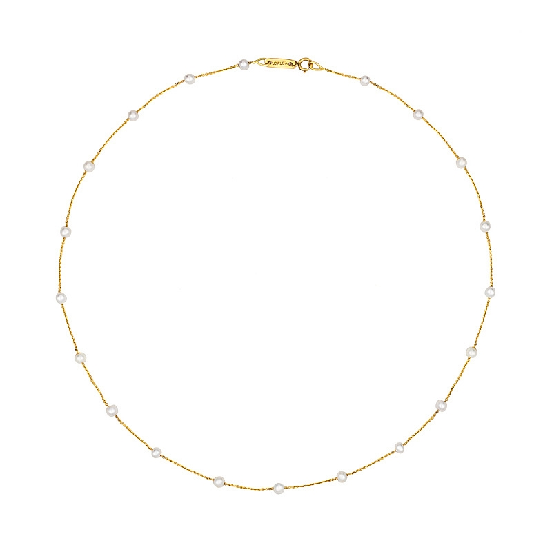 Gargantilla oro amarillo 1ª ley y 20 perlas cultivadas. - REF. N-10589N - Movil