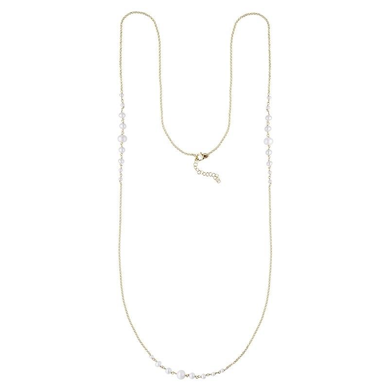 Collar largo Pearl de plata 1ª ley dorada. - REF. 00510056 - Movil