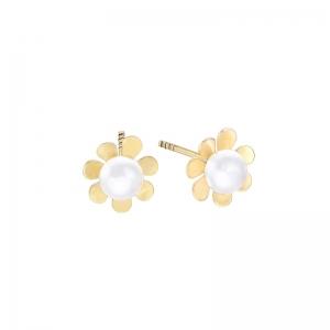 Pendientes Kids & Baby Flor oro amarillo 18k perlas. - REF. 00510195