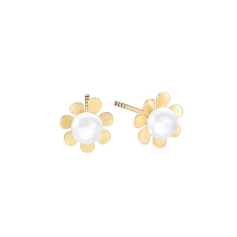Pendientes Kids & Baby Flor oro amarillo 18k perlas. - REF. 00510195 - Movil