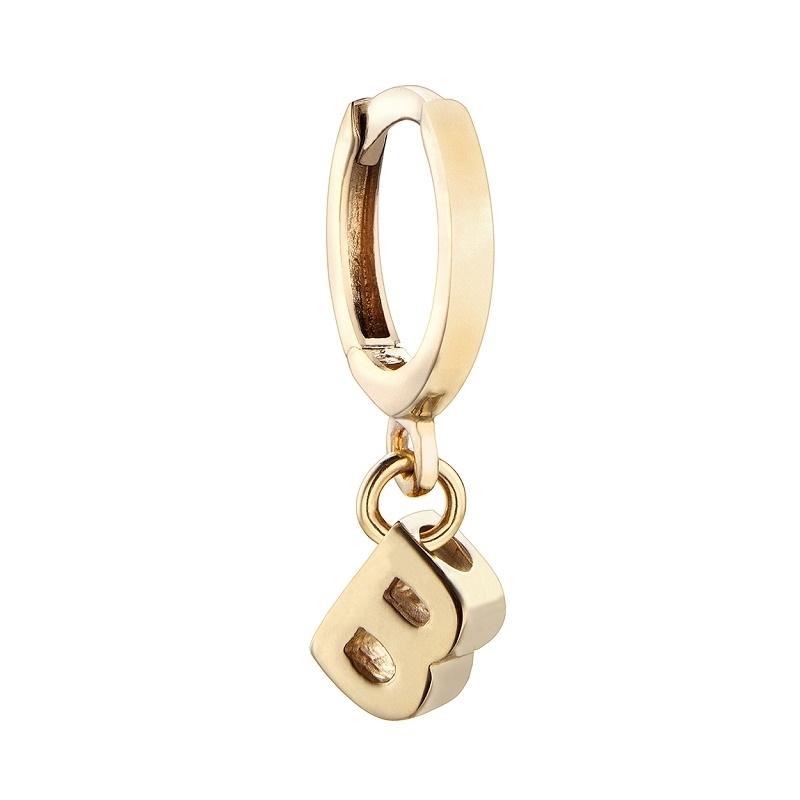 Pendiente Alphabet Only One B plata dorada. - REF. 00508891 - Movil