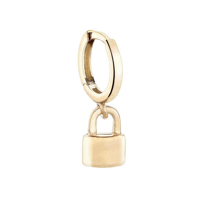 Pendiente aro Only One candado plata 1ª ley dorada. - REF. 00510014 - Movil