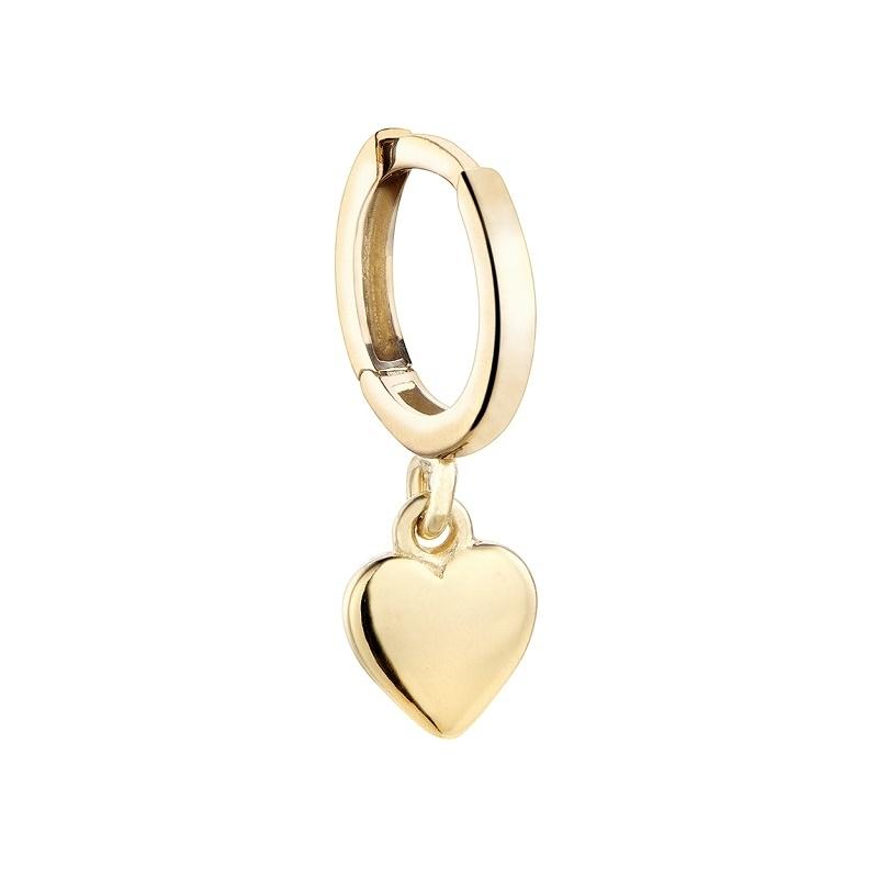 Pendiente aro Only One corazon plata 1ª ley dorada. - REF. 00510016 - Movil