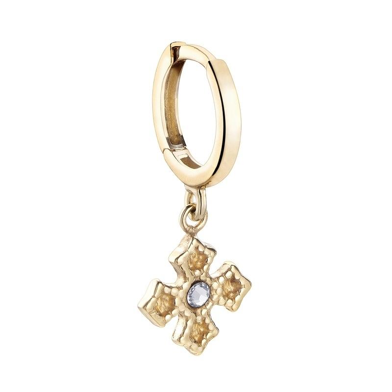 Pendiente aro Only One cruz bizantina plata 1ª ley dorada. - REF. 00510018 - Movil