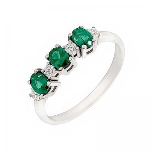 Anillo oro blanco 1ª ley, esmeraldas y diamantes. - REF. N-7341BES