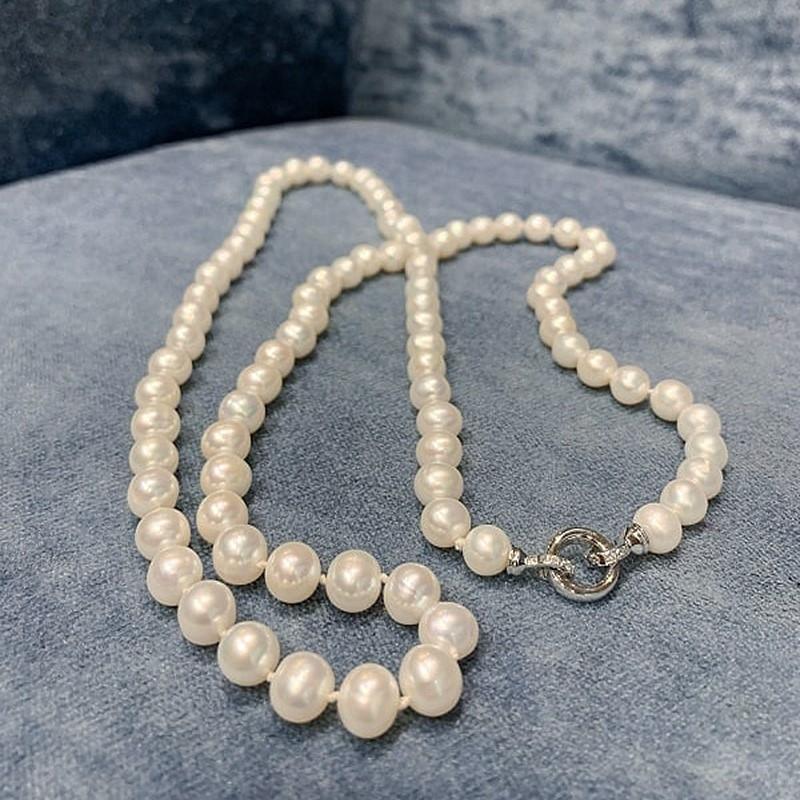 Collar perlas cultivadas agua dulce con cierre de oro blanco y brillantes. - REF. N-101264H - Movil