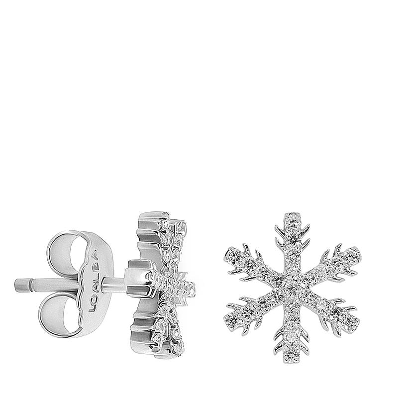 Pendientes flor de las nieves oro 1ª ley y diamantes. - REF. N-5309P - Movil